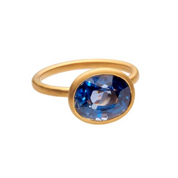 W1419 Blue spinel weighing 4.43 carats set in 22 carat gold