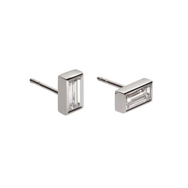 A pair of baguette diamonds weighing 0.51 carats total set in platinum studs