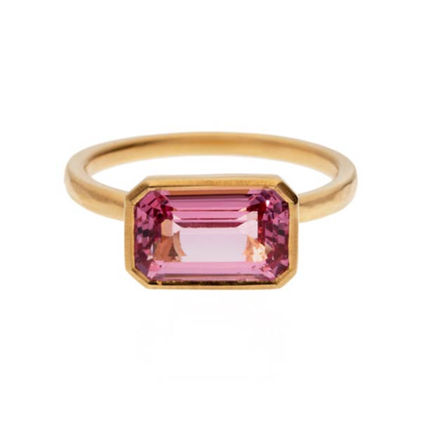 A Burmese pink spinel octagon weighing 2.73 carats set in in a 22 carat gold ring