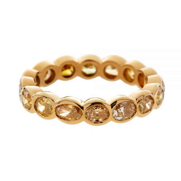 Panna round rose cut diamond eternity ring in 22 carat gold weighing 3.21 carats
