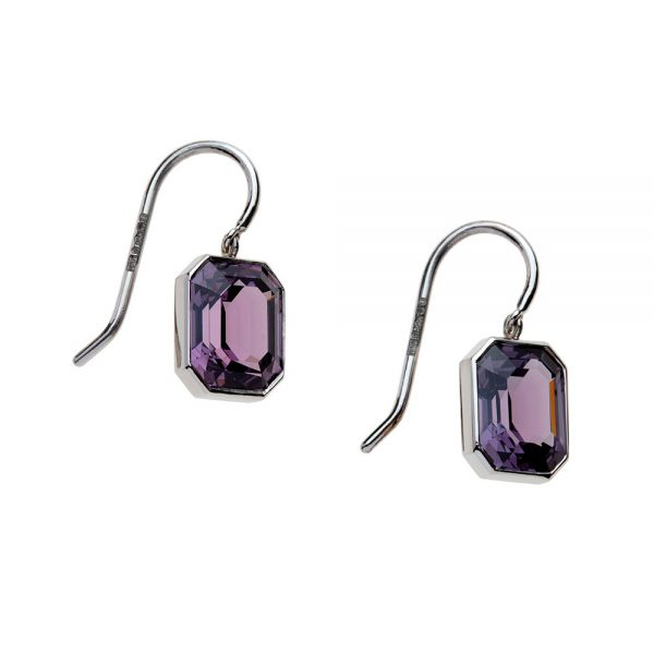 Purple spinel octagons weighing 4.68 carats set in platinum earrings