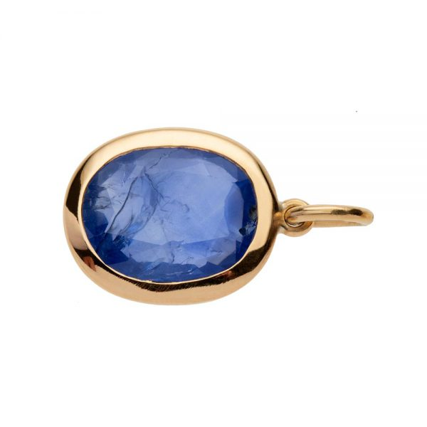 Blue sapphire pendant in 22 carat gold weighing 3.67 carats